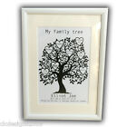 Personalised New Baby Family Tree Print Poster Framed Unframed