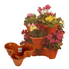 3 Plastic Flowerpot Holder Stackable Strawberry Herb Planter Flower Trio Garden