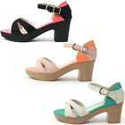 New Pretty Womens Ankle Strap Mid Heel Platform Sandal Shoes Multi Colored