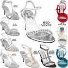 WOMEN PARTY DIAMANTE WEDDING PROM EVENING LOW MID HIGH HEEL BRIDAL SANDALS SHOES