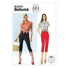 Butterick 5895 Sewing Pattern to MAKE Retro 'Misses Tie Front Top & Crop Jeans