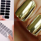 Foil Armour Gel Nail Sticker Patch Wraps Nail Decal Decoration Gold Silver 16pcs