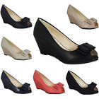 WOMENS LADIES PEEPTOE BOW LOW HEEL WEDGE CASUAL WORK POSH COURT SHOES SIZE 3-8