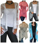 New Cardigan Ladies Womens Long Top Sleeve Open Bolero Crochet Size 8 10 12 14