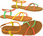 Ladies Summer Beach Strappy Gladiator Sandals Womens Jelly Neon Flat Shoes Size