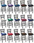 Choose NCAA K-O Team L018 Black Single-Ring Swivel Bar Stool w / Jailhouse Back