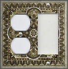 Metal Light Switch Plate Cover - Italian Tile Pattern Grey Tan Home Decor Tile