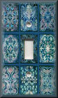 Metal Light Switch Plate Cover - Tuscan Tile Mosaic Blue Home Decor Tile Design