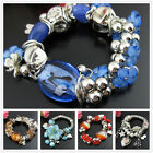 SD047-082 Coloured Glaze Turquoise Pearl Silvered Stretch Bracelet Bangle 27-32