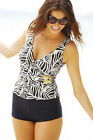 NEW RESORT MAGIC BLACK/IVORY TUMMY CONTROL TANKINI/SHORT 26 PADDED GOLD BUCKLE