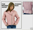 LADIES PINK STUDDED & BRAIDED LEATHER JACKET SIZES XS TO 3XL NEW L.D.L710/PNK