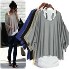 S M L XL XXL Sexy Women Loose Top Batwing T-Shirt 2 PCS Blouse+Tank Casual Vest