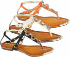 Ladies Summer Beach Flat T Bar Toe Post Strap Gladiator Sandals Women Shoes Size