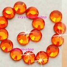 Orange Iron On Hot fix Rhinestones Craft Crystals Hotfix Shine 2mm 3mm 4mm 5mm