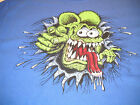 "Rat Fink ""Burst"" headshot blue t shirt Ed Roth Design assorted sizes"