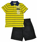 Ecko Unltd Boys Striped Yellow Polo & Denim Short Set Size 4 5 6 7 $50