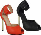 Ladies Stiletto High Heel Ankle Strap Womens Party Peep Toes Sandals Shoes Size