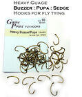 Heavy Wire Buzzer, Sedge Pupa, Shrimp or Grub Hooks for Imitative Fly Tying