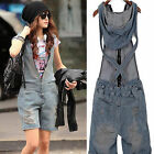 Womens Washed Retro Jeans Short Jumpsuit Romper Overall Casual Pants Denim Hole