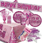 GLITZ PARTY RANGE - PINK - HAPPY BIRTHDAY ITEMS TABLEWARE DECORATIONS - CHOOSE!!