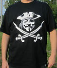 Anon Mask Pirate T-shirt Anonymous Occupy Wall Street ANON 4Chan 9Gag Pirate bay