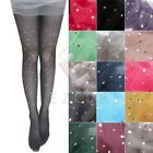 Women Thin Bling Crystal Rhinestone Pantyhose Tights Stockings Candy Color