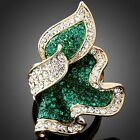 Emerald Green Clear Austrian Crystal Golden Flower Cocktail Ring Gold Plated