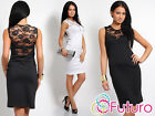 Womens Chic & Elegance Shift Dress with Lace Pencil Tunic Style Size 8-14 FK1180