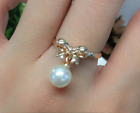 Cute delicate18K GP Rose Gold bowknot White shell pearl Ring 6/7/8/9 Size a237