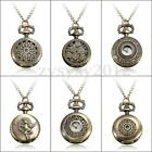 2.5cm Retro Vintage Steampunk Steam Quartz Bronze Necklace Chain Pocket Watch