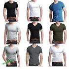 New Fashion Men's Slim Fit V-neck/crew neck T-shirt Short Sleeve Muscle Tee