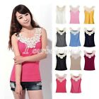 Sexy Ladys Lace Flower Crochet Ribbed Tank Top Sleeveless T-shirt Casual Cami
