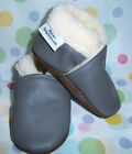 MOXIES soft soled leather shoes grey winter chaussons en cuir gris hiver doublee