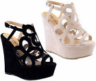 Women High Wedge Heel Peeptoe Cutout Clear Platform Slingback Sandals Shoes Size