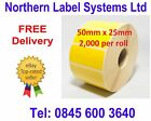 50mm x 25mm YELLOW Direct Thermal Labels for Zebra, Citizen, Toshiba etc
