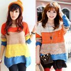 Han Edition Sweater Knitwear Candy Spell Colors Round Neck Loose Jumpers Sweater