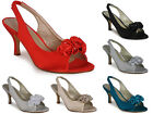 NEW WOMENS LADIES SATIN PEEPTOE LOW HEEL BRIDAL BRIDESMAIDS PARTY SHOES SIZ 3-8