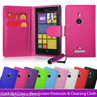 NEW PU LEATHER WALLET CASE COVER FOR NOKIA LUMIA 925 /920 + SCREEN PROTECTOR