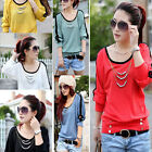 New Women Candy Color Hollow Long Sleeve Cotton Shirt Bloue Top with Coat Chain