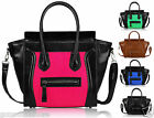 Womens Ladies Celebrity Designer Bag Leather Style Tote Smiley Shopper Handbag