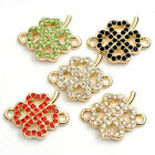 1 pc Gold Plated Crystal Rhinestone Four Leaf Green Beads Connector For Bracelet