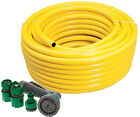 Professional Heavy Duty Yellow Hose Pipe + Spray Gun Set Garden Hosepipe 75 50 M