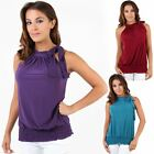 Womens Ruched Self Tie Halter Neck Ruched Top Evening Party Flatterning Blouse
