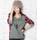 Women Ladies Plaid Checked Long Sleeve Casual Loose T shirt Tops Blouse New