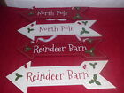 Christmas Wooden Christmas Hanging Sign Decoration Red or White NEW