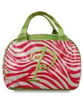 Laminated Pink Zebra Print Canvas Insulated Reusable Lunch Bag Choice of  Letter