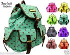 Anna Smith Girls Ladies School Bag Polka Canvas Backpack Rucksack Shoulder bags