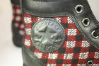 Converse Chuck Taylor WARM Red Black Plaid Black Leather Trim Hi Top 2 pr laces