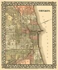 Old City Map - Chicago Illinois - Mitchell 1870 - 23 x 27.70