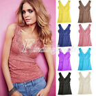 8 Candy Color Sexy Women's V Vest Lace Hollowed Tank Tops Bodycon M/L Choose